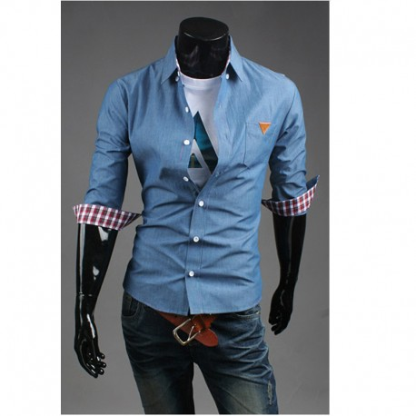 men's mid sleeve shirts unwash denim