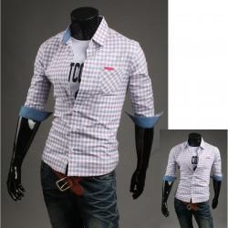 мужской средний рукав рубашки проверка холстинки розовый