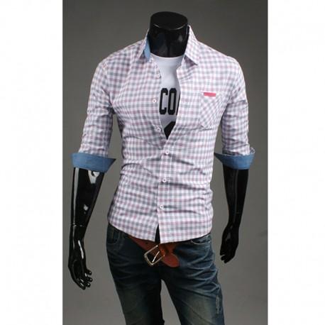 men v polovině rukáv košile check gingham pink