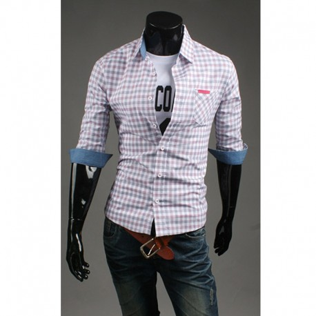 vyriški vidurio rankovėmis marškiniai Dryžuotas medvilnės audinys patikrinimas rožinės