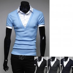 men's polo shirts v neck 2 layer check collar