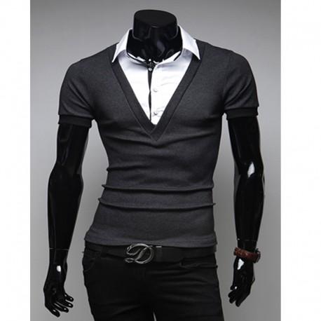 pánské košile s krátkým rukávem V Neck dvě vrstvy kontrola límec