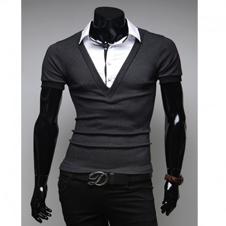 Polo skjorter v hals to lag sjekk krage