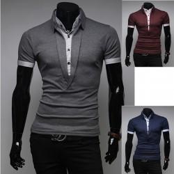 męskie koszulki polo długi szyi V 2 warstwy