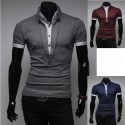 men's polo shirts long v neck 2 layer