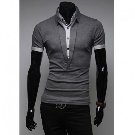 férfi pólók hosszú v nyakú 2 réteg