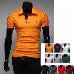 heren polo shirts giraffe borduurwerk