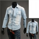 streep portemonnee pocket denim shirts