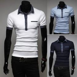 мужские рубашки поло джинсовой ткани губ карман
