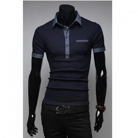pánské košile s krátkým rukávem denim kapsy na rty