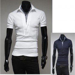 men's polo shirts edge v neck collar