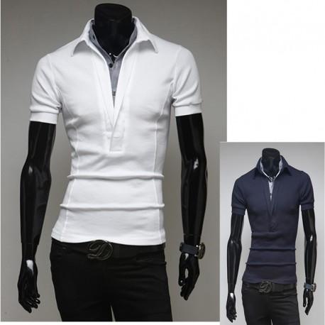 férfi pólók szélén v nyakú galléros