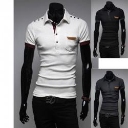 μπλουζάκια πόλο κουμπί ώμο επωμίδα των ανδρών
