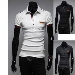men's polo shirts shoulder button epaulet