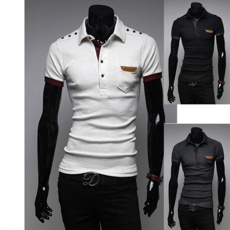 pánské košile s krátkým rukávem tlačítko rameno nárameník