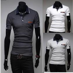 męskie koszulki polo podwójna linia rękawów