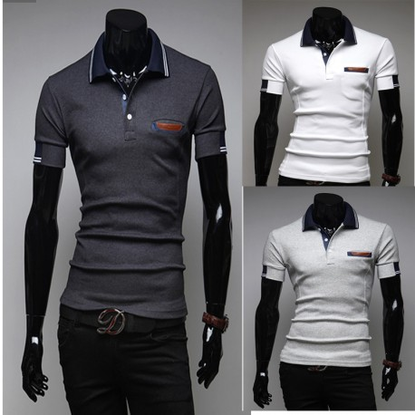 men's polo shirts double line sleeve