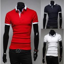 мъжки поло блузи единствен рамото бродерия