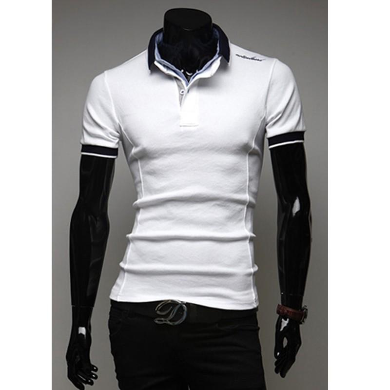 6b579235cf55 ... pánske košele s krátkym rukávom jediné rameno vyšívanie ...