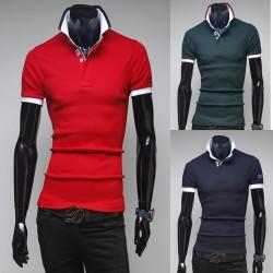 мужские рубашки поло двойной воротник рукав вышивка