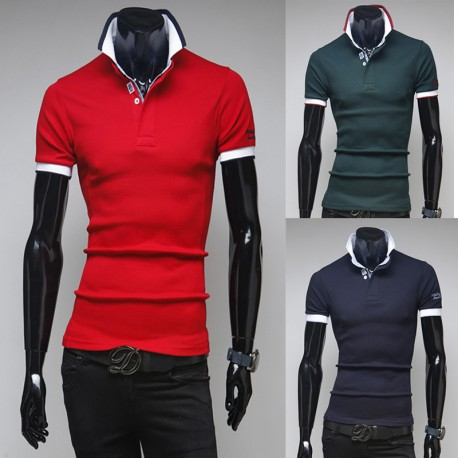pánské košile s krátkým rukávem dvojitý límec rukáv vyšívání