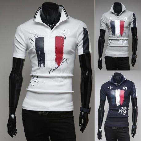 męskie koszulki polo Flaga Francji malowanie