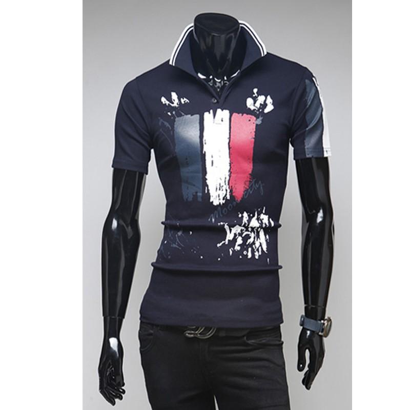 Erkek Için Polo Tişörtler Fransa Bayrağı Boyama Cebi Mens Polo Gömlek