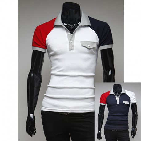 men's polo shirts grey collar