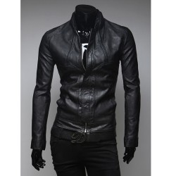 men's leather jacket short collar
