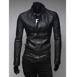 veste en cuir des hommes court collier