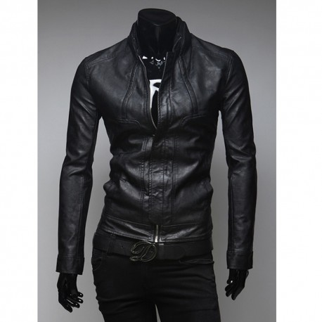 férfi bőr kabát rövid galléros