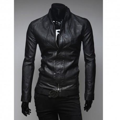 vīriešu ādas jaka īsā apkakle