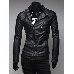 men's leather jacket hidden zipper