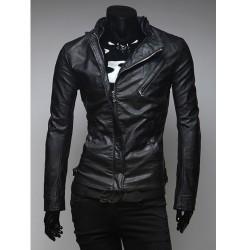 pánská kožená bunda skrytý zip