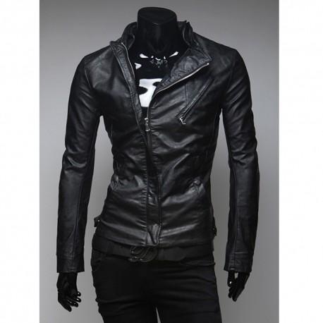 чоловіча шкіряна куртка прихована блискавка