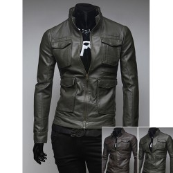kožená bunda vrecko double prsníka pánske