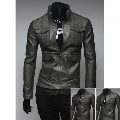 veste en cuir de double poche poitrine hommes