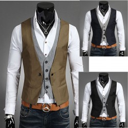 men's double check vest 4 button