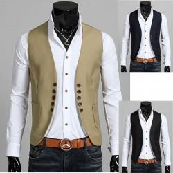 pánská vesta bunda 5 kulaté tlačítko cut