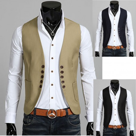 men's vest jacket 5 button round cut