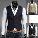 men's vest v neck collar 3 button