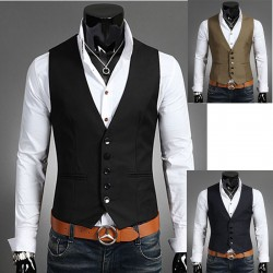 men's vest 5 button double hand pocket