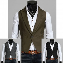 men's vest 1 button v collar