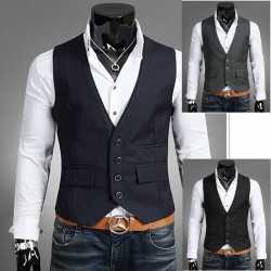 men's vest 2 layer collar