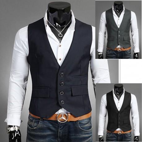 men's vest 2 layer collar