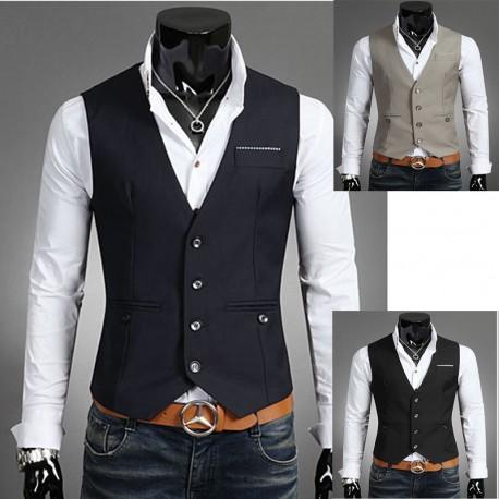 men's vest handkerchief stripe