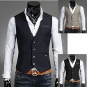 men's vest 1 button gingham check line pocket