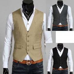 men's vest 4 button with pockets