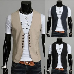 men's vest linen twin button