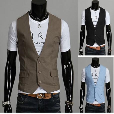 men's vest linen brown 3 button